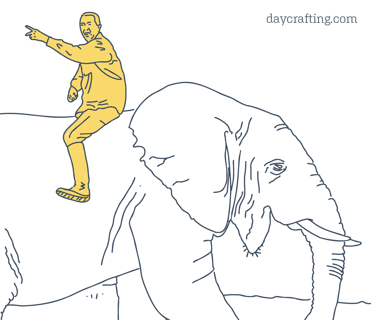 An illustration of a rider on an elephant – an analogy for how the mind is conflicted